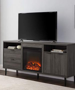 Walker Edison Modern Wood Fireplace TV Stand With Cabinet Doors And Drawers For TVs Up To 65 Flat Screen Universal TV Console Living Room Storage Shelves Entertainment Center 60 Inch Slate Grey 0 300x360