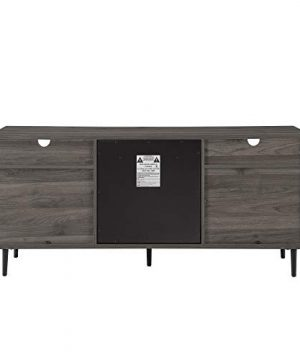 Walker Edison Modern Wood Fireplace TV Stand With Cabinet Doors And Drawers For TVs Up To 65 Flat Screen Universal TV Console Living Room Storage Shelves Entertainment Center 60 Inch Slate Grey 0 4 300x360