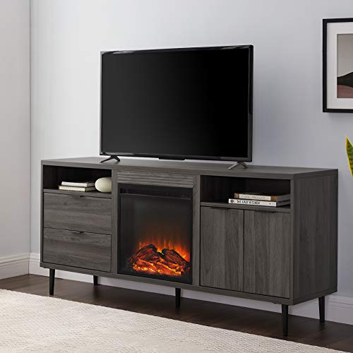 Walker Edison Modern Wood Fireplace TV Stand With Cabinet Doors And Drawers For TVs Up To 65 Flat Screen Universal TV Console Living Room Storage Shelves Entertainment Center 60 Inch Slate Grey 0