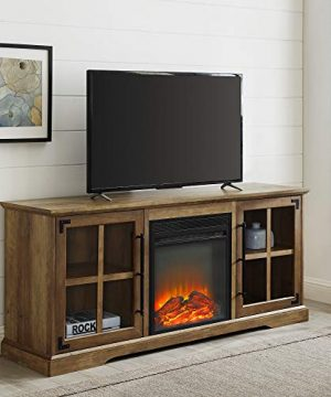 Walker Edison Rustic Farmhouse Wood And Glass 2 Cabinet Doors Electric Fireplace Stand Console Fits TVs Up To 65 60 Inch Reclaimed Barnwood Brown 0 300x360
