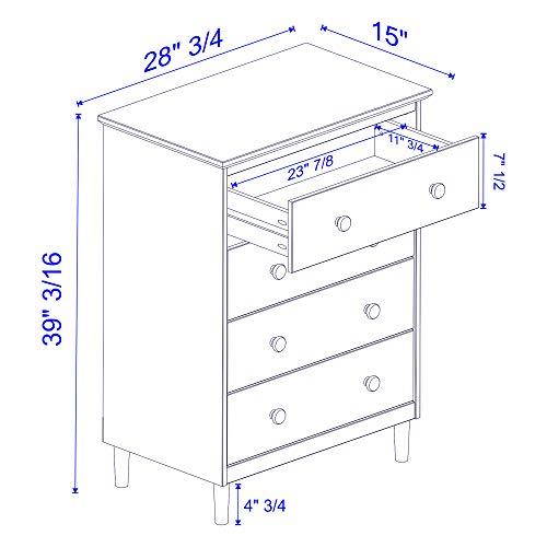 Walker Edison Tall Wood Dresser Bedroom Storage Drawer Organizer Closet Hallway 4 White 0 4