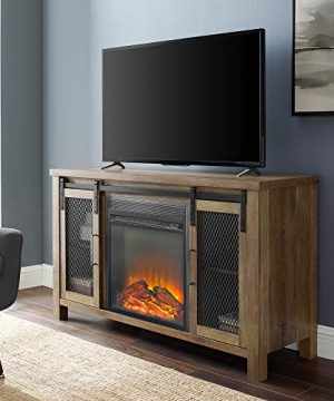Walker Edison WE Furniture Fireplace TV Stand 48 Rustic Oak Reclaimed Barnwood Brown 0 300x360
