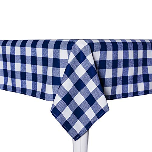 Wemay Cotton Buffalo Check Plaid Square Tablecloth For Family Dinners Or Gatherings Indoor Or Outdoor Parties Everyday Use 54 Inch X 54 InchSeats 4 People Blue White 0 0