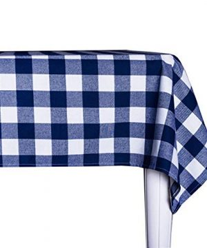 Wemay Cotton Buffalo Check Plaid Square Tablecloth For Family Dinners Or Gatherings Indoor Or Outdoor Parties Everyday Use 54 Inch X 54 InchSeats 4 People Blue White 0 300x360