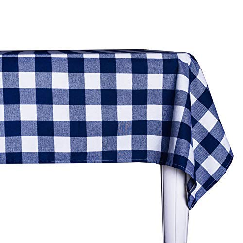 Wemay Cotton Buffalo Check Plaid Square Tablecloth For Family Dinners Or Gatherings Indoor Or Outdoor Parties Everyday Use 54 Inch X 54 InchSeats 4 People Blue White 0