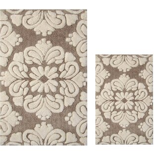 Westhoff+Medallion+Rectangular+100+Cotton+Non-Slip+Floral+Bath+Rug