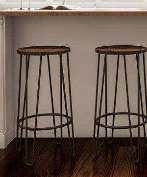 Wood Bar Stools With Hairpin Legs Set Of 2 Na Black Farmhouse Iron Stained Walnut Finish Stackable 0 300x360