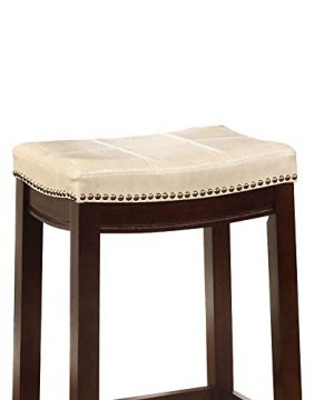 Wooden Bar Stool With Faux Leather Upholstery Cream And Brown Modern Contemporary Foam Rubberwood Wood Nailhead Trim Upholstered 0 0 300x360