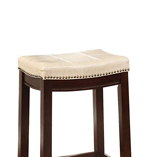 Wooden Bar Stool With Faux Leather Upholstery Cream And Brown Modern Contemporary Foam Rubberwood Wood Nailhead Trim Upholstered 0 0