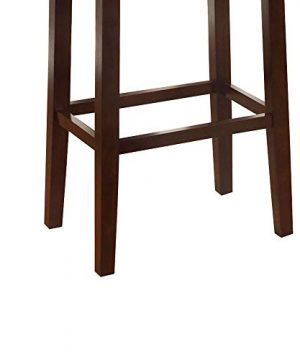 Wooden Bar Stool With Faux Leather Upholstery Cream And Brown Modern Contemporary Foam Rubberwood Wood Nailhead Trim Upholstered 0 1 300x360