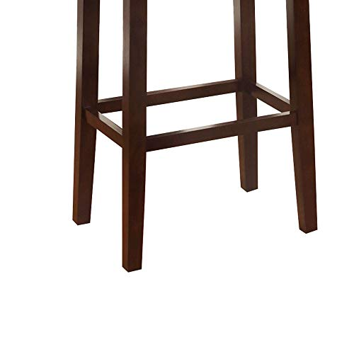 Wooden Bar Stool With Faux Leather Upholstery Cream And Brown Modern Contemporary Foam Rubberwood Wood Nailhead Trim Upholstered 0 1