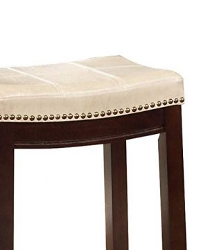 Wooden Bar Stool With Faux Leather Upholstery Cream And Brown Modern Contemporary Foam Rubberwood Wood Nailhead Trim Upholstered 0 2 300x360