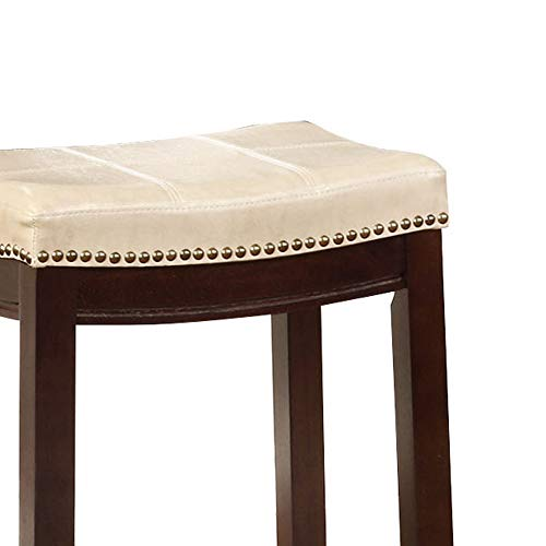Wooden Bar Stool With Faux Leather Upholstery Cream And Brown Modern Contemporary Foam Rubberwood Wood Nailhead Trim Upholstered 0 2