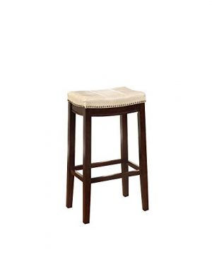 Wooden Bar Stool With Faux Leather Upholstery Cream And Brown Modern Contemporary Foam Rubberwood Wood Nailhead Trim Upholstered 0 300x360