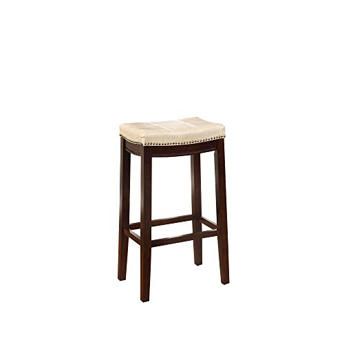Wooden Bar Stool With Faux Leather Upholstery Cream And Brown Modern Contemporary Foam Rubberwood Wood Nailhead Trim Upholstered 0