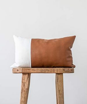 Woven Nook Decorative Lumbar Throw Pillow Cover ONLY For Couch Sofa Or Bed Modern Quality Design Faux Leather And Cotton Zulu Lumbar 12 X 20 0 300x360