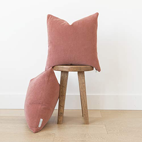 Woven Nook Decorative Throw Pillow Covers 100 Corduroy Pack Of 2 18 X 18 Dusty Rose 0