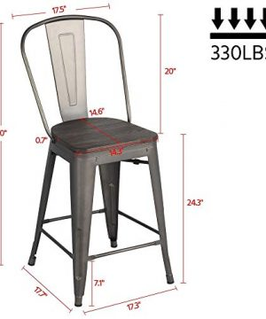Yaheetech 24Inch Seat Height Tolix Style Dining Stools Chairs With Wood SeatTop And High Backrest Industrial Metal Counter Height Stool Modern Kitchen Dining Bar Chairs Rustic Gun 0 0 300x360