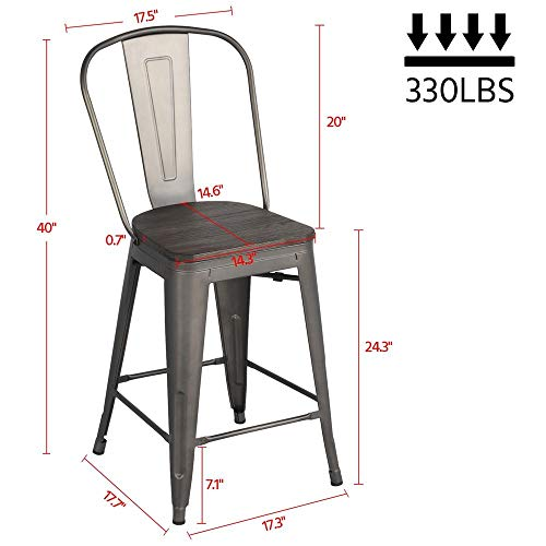 Yaheetech 24Inch Seat Height Tolix Style Dining Stools Chairs With Wood SeatTop And High Backrest Industrial Metal Counter Height Stool Modern Kitchen Dining Bar Chairs Rustic Gun 0 0