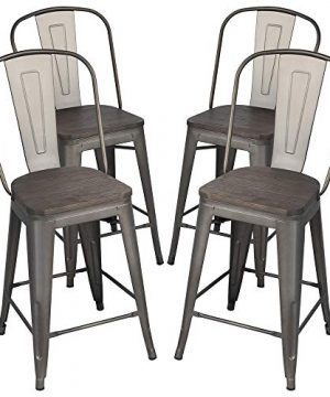 Yaheetech 24Inch Seat Height Tolix Style Dining Stools Chairs With Wood SeatTop And High Backrest Industrial Metal Counter Height Stool Modern Kitchen Dining Bar Chairs Rustic Gun 0 300x360