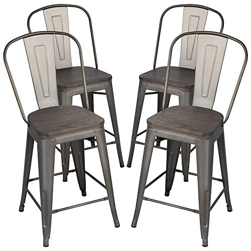 Yaheetech 24Inch Seat Height Tolix Style Dining Stools Chairs With Wood SeatTop And High Backrest Industrial Metal Counter Height Stool Modern Kitchen Dining Bar Chairs Rustic Gun 0