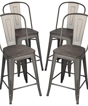 Yaheetech 24Inch Seat Height Tolix Style Dining Stools Chairs With Wood SeatTop And High Backrest Industrial Metal Counter Height Stool Modern Kitchen Dining Bar Chairs Rustic Gun Set Of 4 0 300x360