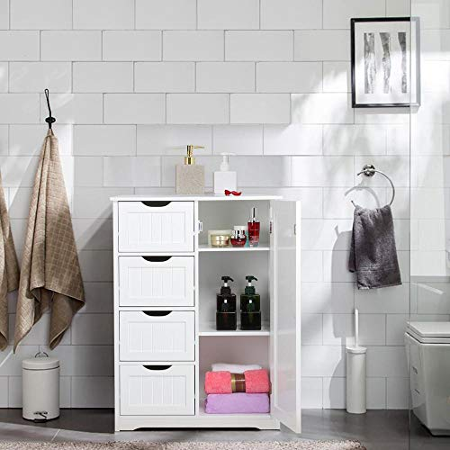 Yaheetech Wooden Bathroom Floor Cabinet Side Storage Organizer Cabinet With 4 Drawers And 1 Cupboard Freestanding Entryway Storage Unit Console Table Bathroom Furniture Home Decor White 0 0