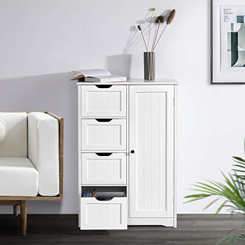 Yaheetech Wooden Bathroom Floor Cabinet Side Storage Organizer Cabinet With 4 Drawers And 1 Cupboard Freestanding Entryway Storage Unit Console Table Bathroom Furniture Home Decor White 0 1