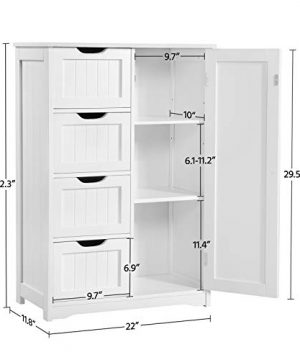 Yaheetech Wooden Bathroom Floor Cabinet Side Storage Organizer Cabinet With 4 Drawers And 1 Cupboard Freestanding Entryway Storage Unit Console Table Bathroom Furniture Home Decor White 0 2 300x360