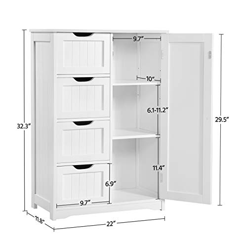 Yaheetech Wooden Bathroom Floor Cabinet Side Storage Organizer Cabinet With 4 Drawers And 1 Cupboard Freestanding Entryway Storage Unit Console Table Bathroom Furniture Home Decor White 0 2