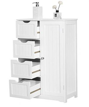 Yaheetech Wooden Bathroom Floor Cabinet Side Storage Organizer Cabinet With 4 Drawers And 1 Cupboard Freestanding Entryway Storage Unit Console Table Bathroom Furniture Home Decor White 0 3 300x360