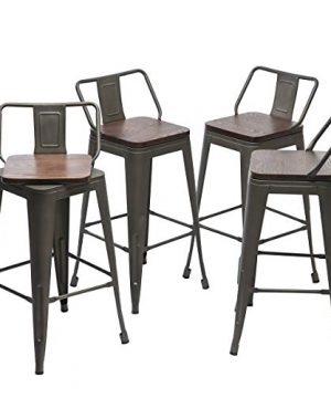 YongQiang 24 Inch Swivel Metal Bar Stools Set Of 4 Barstools Indoor Outdoor Kitchen Counter Height Bar Stools Rusty Wooden Seat 0 300x360