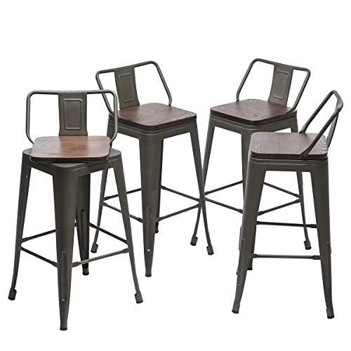 Yongqiang 24 Inch Swivel Metal Bar Stools Set Of 4 Barstools Indoor Outdoor Kitchen Counter Height Bar Stools Rusty Farmhouse Goals