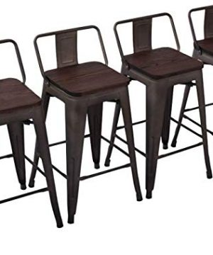 Yongchuang Metal Counter Height Bar Stools For Indoor Outdoor Barstools Set Of 4 Wood Top Low Back 26 Rusty 0 300x360