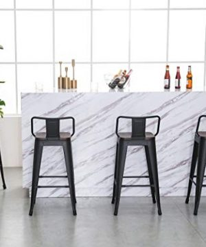 Yongqiang 26 Inch Barstools Set Of 4 Kitchen Counter Height Metal Bar Stools With Low Back Wood Seat Matte Black 0 0 300x360