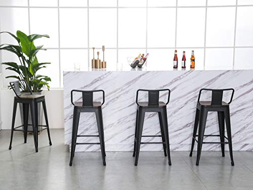 26 Inch Barstools Set Of 4 Kitchen Counter Height Metal Bar Stools With Back Wooden Seat Industrial Matte Black Farmhouse Goals