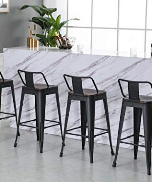Yongqiang 26 Inch Barstools Set Of 4 Kitchen Counter Height Metal Bar Stools With Low Back Wood Seat Matte Black 0 2 300x360