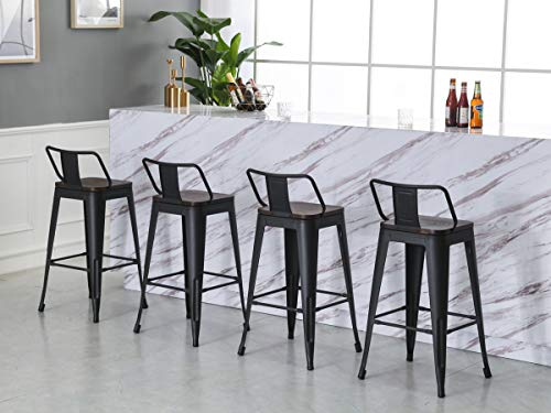 Yongqiang 26 Inch Barstools Set Of 4 Kitchen Counter Height Metal Bar Stools With Low Back Wood Seat Matte Black 0 2