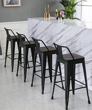 Yongqiang 26 Inch Barstools Set Of 4 Kitchen Counter Height Metal Bar Stools With Low Back Wood Seat Matte Black 0 3 300x360