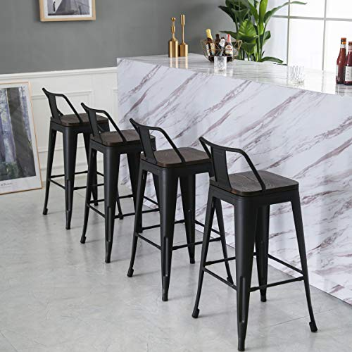 Yongqiang 26 Inch Barstools Set Of 4 Kitchen Counter Height Metal Bar Stools With Low Back Wood Seat Matte Black 0 3