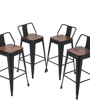 Yongqiang 26 Inch Barstools Set Of 4 Kitchen Counter Height Metal Bar Stools With Low Back Wood Seat Matte Black 0 300x360