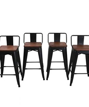 Yongqiang 26 Inch Barstools Set Of 4 Kitchen Counter Height Metal Bar Stools With Low Back Wood Seat Matte Black 0 4 300x360