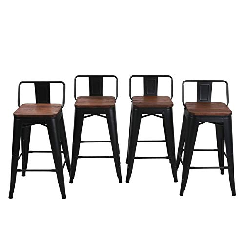Yongqiang 26 Inch Barstools Set Of 4 Kitchen Counter Height Metal Bar Stools With Low Back Wood Seat Matte Black 0 4