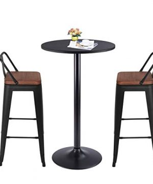 Yongqiang 26 Inch Barstools Set Of 4 Kitchen Counter Height Metal Bar Stools With Low Back Wood Seat Matte Black 0 5 300x360