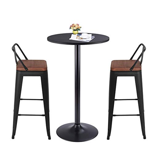 Yongqiang 26 Inch Barstools Set Of 4 Kitchen Counter Height Metal Bar Stools With Low Back Wood Seat Matte Black 0 5