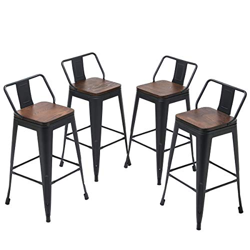 Yongqiang Metal Bar Stools With Back Set Of 4 Kitchen Counter Height Stools With Wooden Seat 26 Matte Black Farmhouse Goals