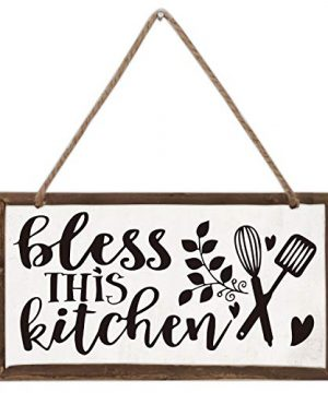 Akeke Bless This Kitchen Inspirational Wood Farmhouse Frame Hanging Wall Art Sign Plaque Decor 12 X 6 Inch 0 300x360