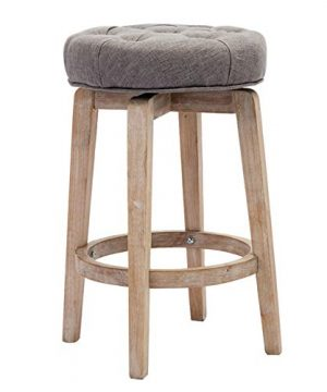 Chairus 29 Swivel Kitchen Stool Upholstered Round Counter Height Bar Stool With Tufted Button Distressed Wood Legs Gray 0 300x360