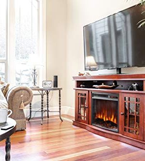 E Flame USA Jackson Electric Fireplace Stove TV Stand 60x33 Warm Cherry Finish 0 2 300x333