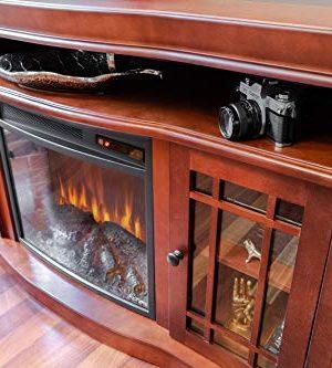 E Flame USA Jackson Electric Fireplace Stove TV Stand 60x33 Warm Cherry Finish 0 4 300x333